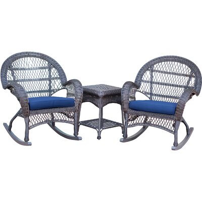 3-Piece Lalani Patio Seating Group Fabric: Blue, Frame Color: Honey by August Grove
