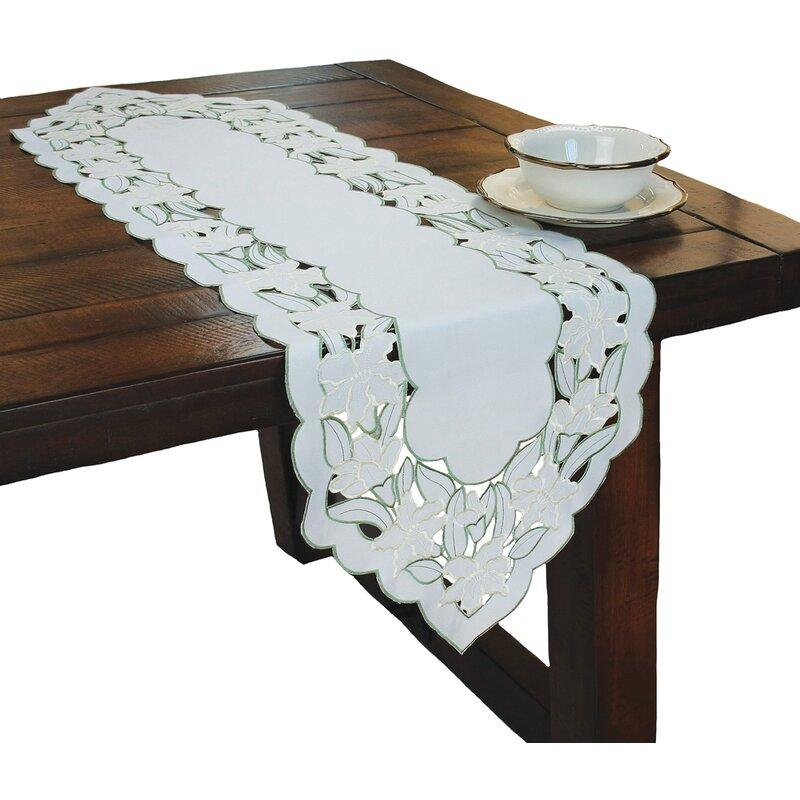 Xia Home Fashions Magnolia Embroidered Cutwork Table Runner Wayfair