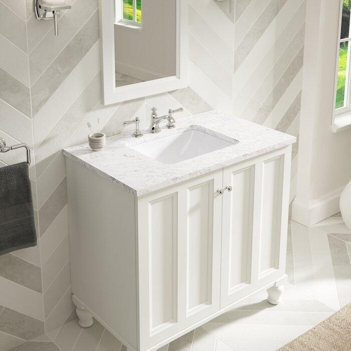 Caxton Ceramic Rectangular Undermount Bathroom Sink with Overflow