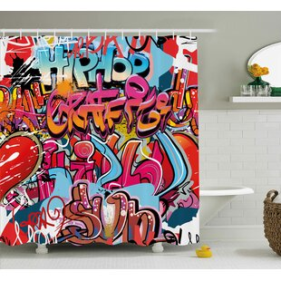 Zia Graphic Hip Hop Street Culture Harlem New York Wall Graffiti Spray Artwork Image Single Shower Curtain