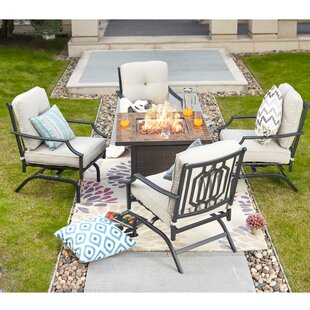 Rich 5 Piece Seating Group with Cushions with Fire Pit Table