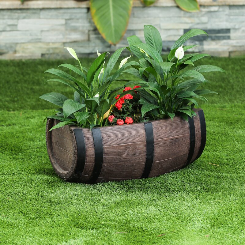 Set of 2 Weather Resistant Decorative Accent with Removable Drain Screen Rustic Half Barrel Planters