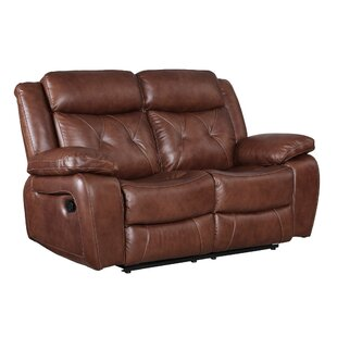Gohoho Leather Power Reclining Loveseat Red Barrel Studio