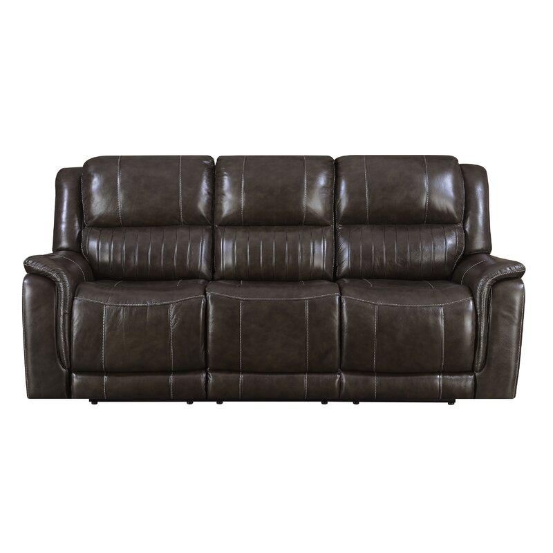 Guineau Leather Reclining Sofa