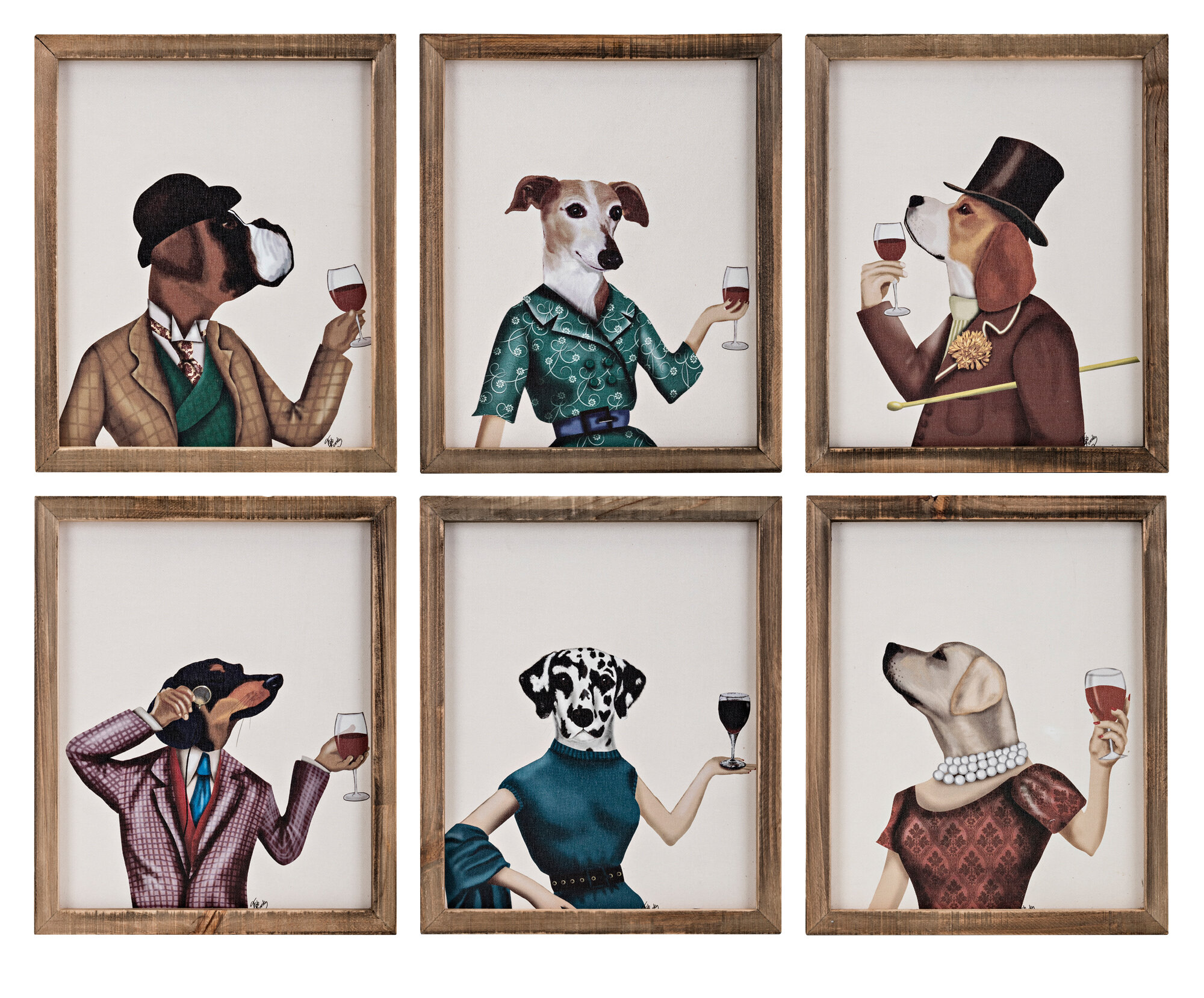 Winston Porter Dog Cheers 6 Piece Picture Frame Graphic Art Set On Canvas Wayfair