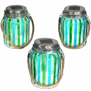 Highland Dunes Royst Striped Solar Lantern Glass Jar 5 Light LED Step Light (Set of 3)
