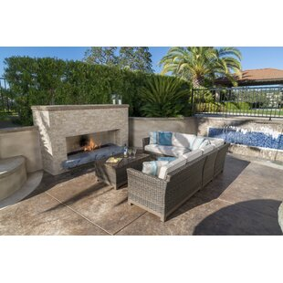 Eibhlin 5 Piece Rattan Sunbrella Sectional Seating Group