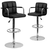 Milam Adjustable Height Swivel Bar Stool (Set of 2) by Wrought Studio™