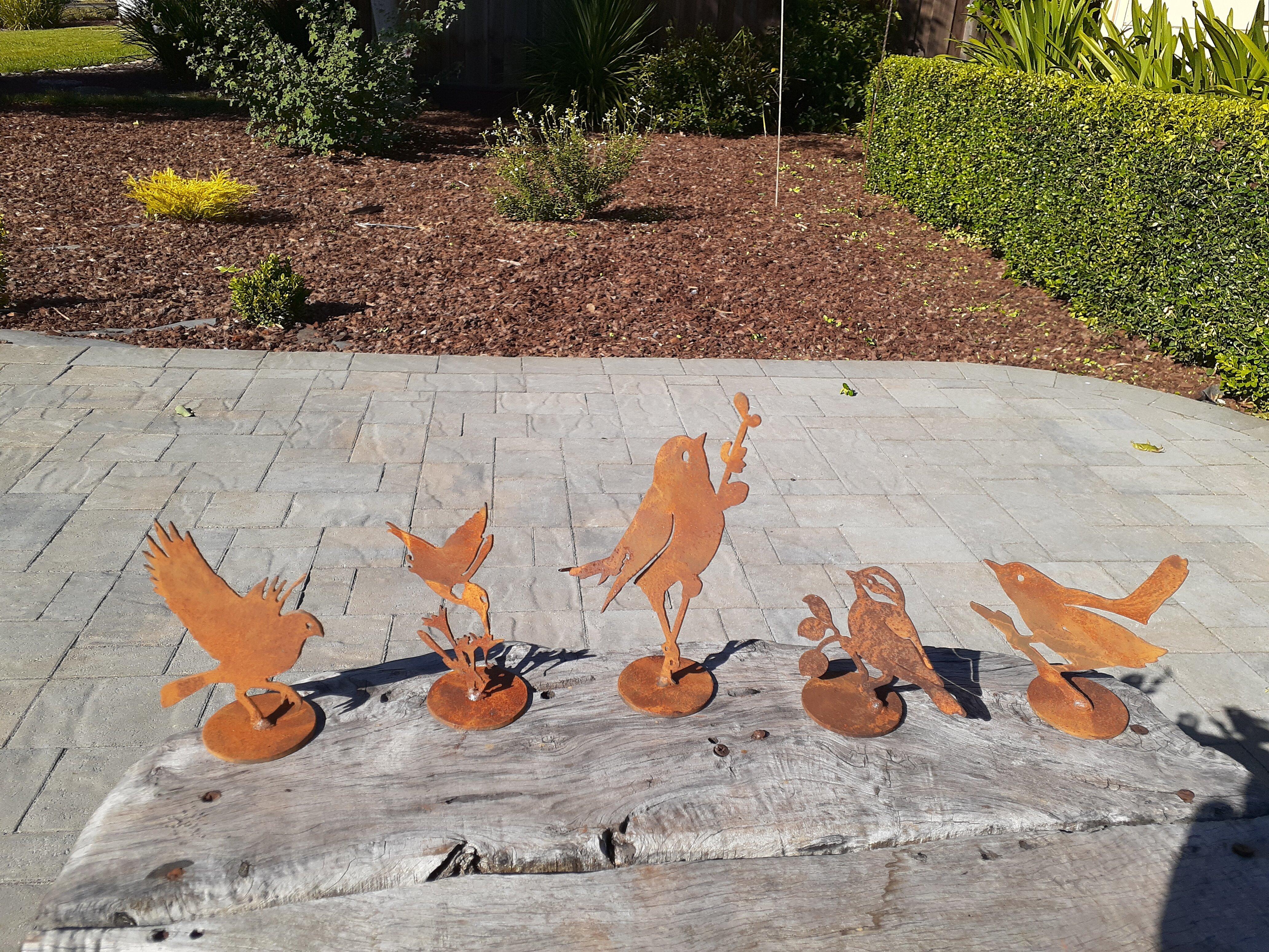 August Grove Metal Rustic Birds On Base 5 Piece Garden Art Set Wayfair