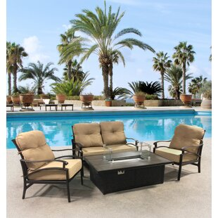 Aube Outdoor Aluminum 4 Piece Sunbrella Sofa Seating Group with Cushions by Canora Grey