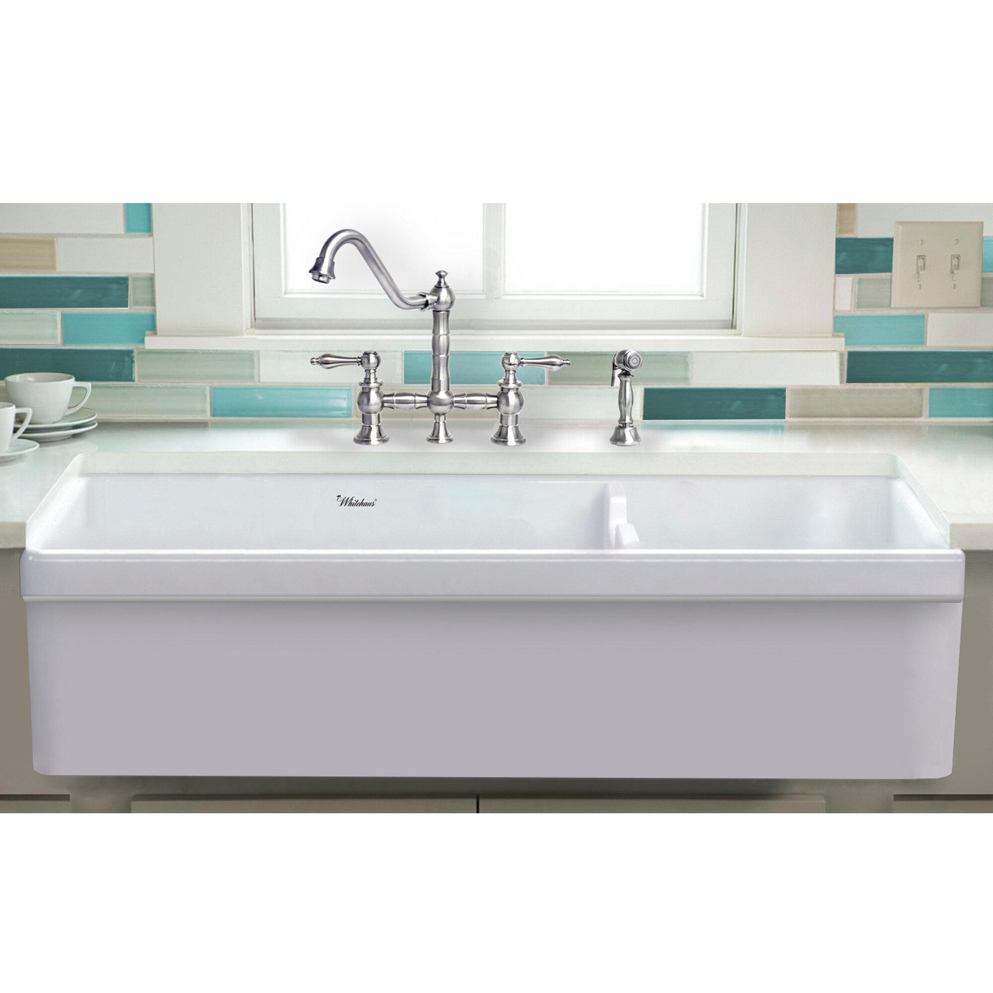 Picture of: Whitehaus Collection Glencove 42 L X 19 W Double Basin Farmhouse Apron Kitchen Sink Reviews Wayfair