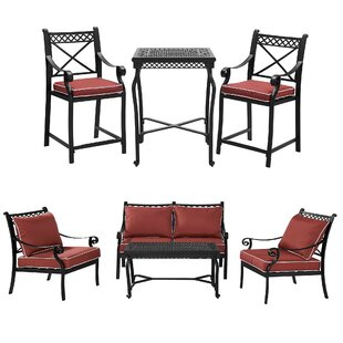 Fleur De Lis Living Nadine Dining Table Seating Group with Cushions