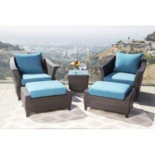 Latitude Run Lemanski Outdoor 5 Piece Rattan Conversation Set with Cushion