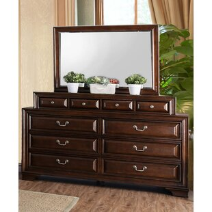 Affordable Price Rector 10 Drawer Double Dresser with Mirror by Charlton Home