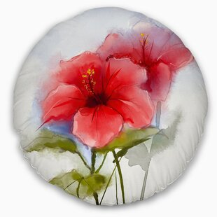 Floral Watercolor Painting Hibiscus Flower Throw Pillow
