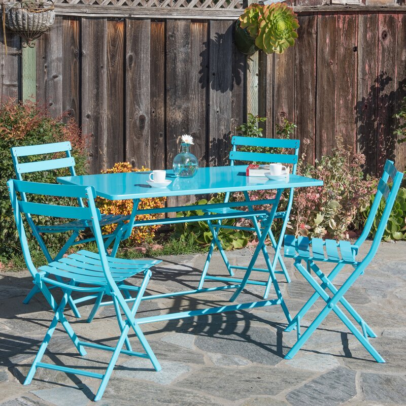 Trey Rectangular Steel Patio Folding 5 Piece Bistro Set