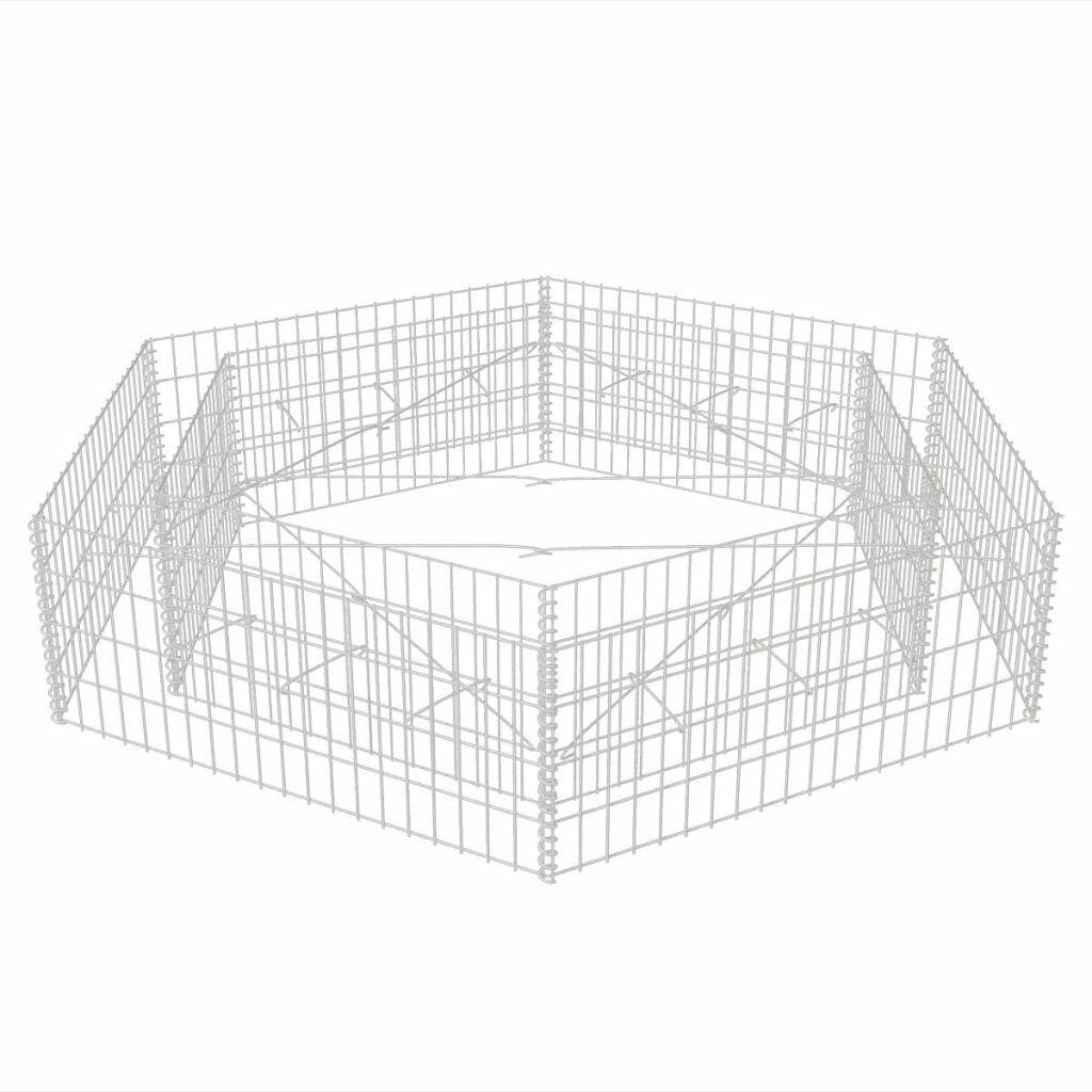 Hexagonal Metal Planter Box with Trellis