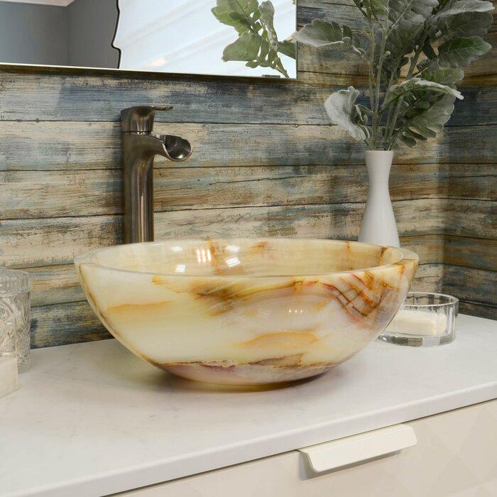 Lavabo de salle de bain vasque circulaire en pierre onyx