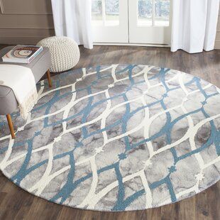 Danny Hand-Tufted Wool Gray/White/Blue Area Rug by Ebern Designs