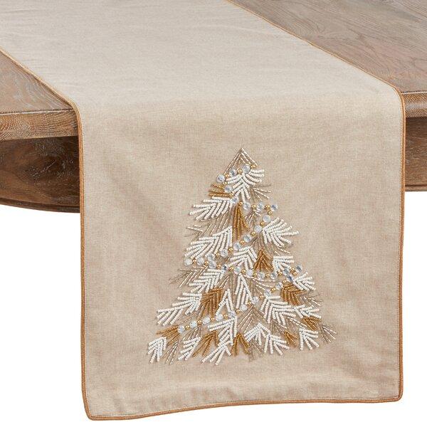 The Holiday Aisle Jemison Christmas Tree Beaded Table Runner Reviews Wayfair
