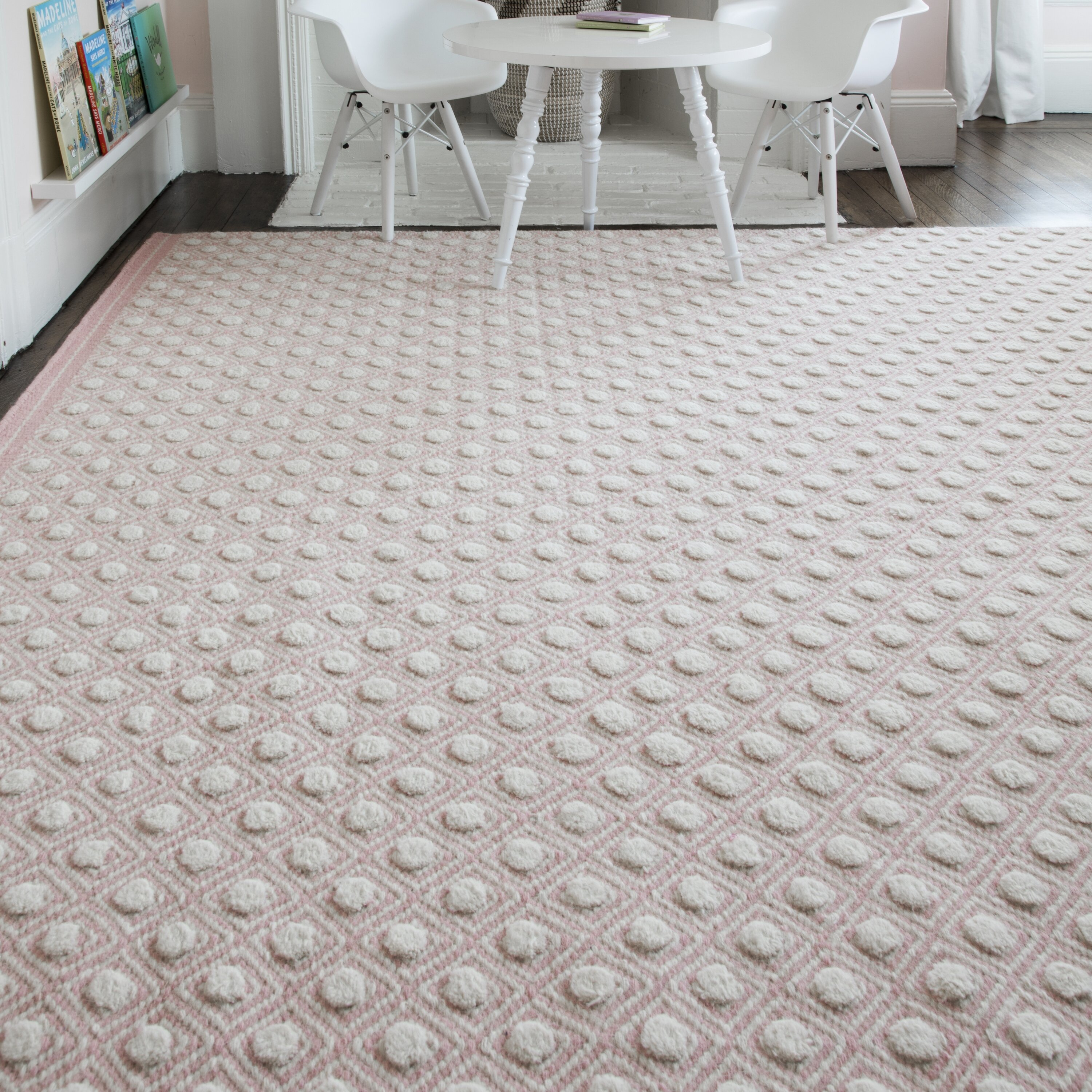 Picture of: Langdon Polka Dots Handwoven Flatweave Wool Pink Area Rug Reviews