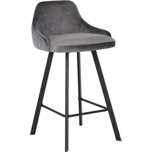 Mabton Velvet 26 Bar Stool (Set of 2) House of Hampton