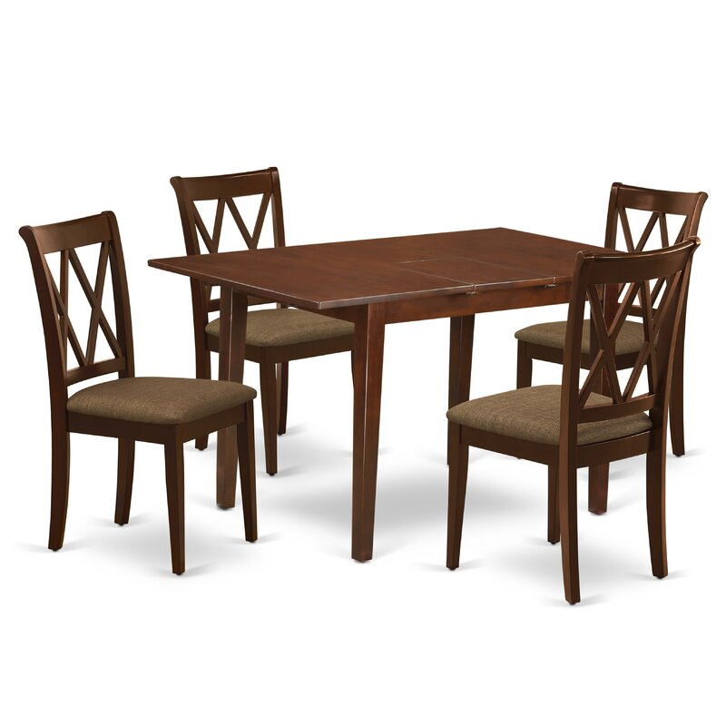 Winston Porter Saona 5 Piece Extendable Solid Wood Dining Set