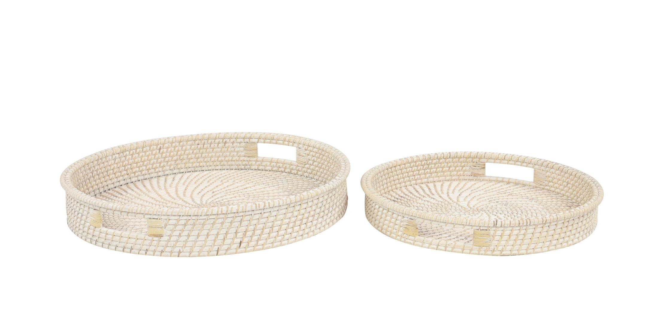 Keeler Handwoven Bamboo Round 2 Piece Vanity Tray Set Joss Main