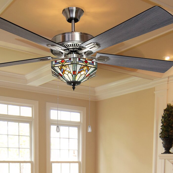 "Millwood Pines 52"" Londono Bungalow Mission Glass 5-Blade Ceiling Fan"
