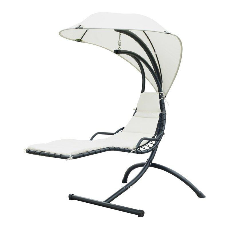 chaise longue suspendue outsunny chaise longue suspendue en polyester avec support