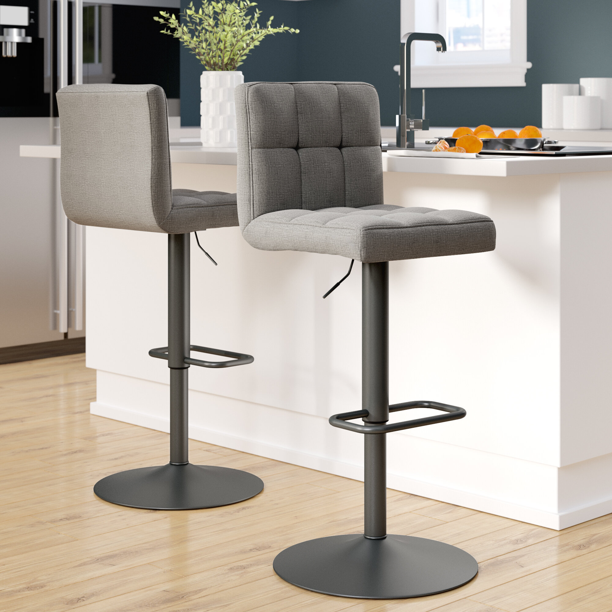 Awesome Ebern Designs Faustina Adjustable Height Swivel Bar Stool Caraccident5 Cool Chair Designs And Ideas Caraccident5Info