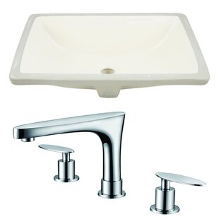 Inexpensive Ceramic Undermount Bathroom Sink with Faucet and Overflow By American Imaginations