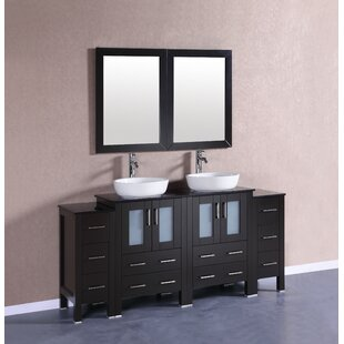 Gloria 72 Double Bathroom Vanity Set with Mirror by Bosconi