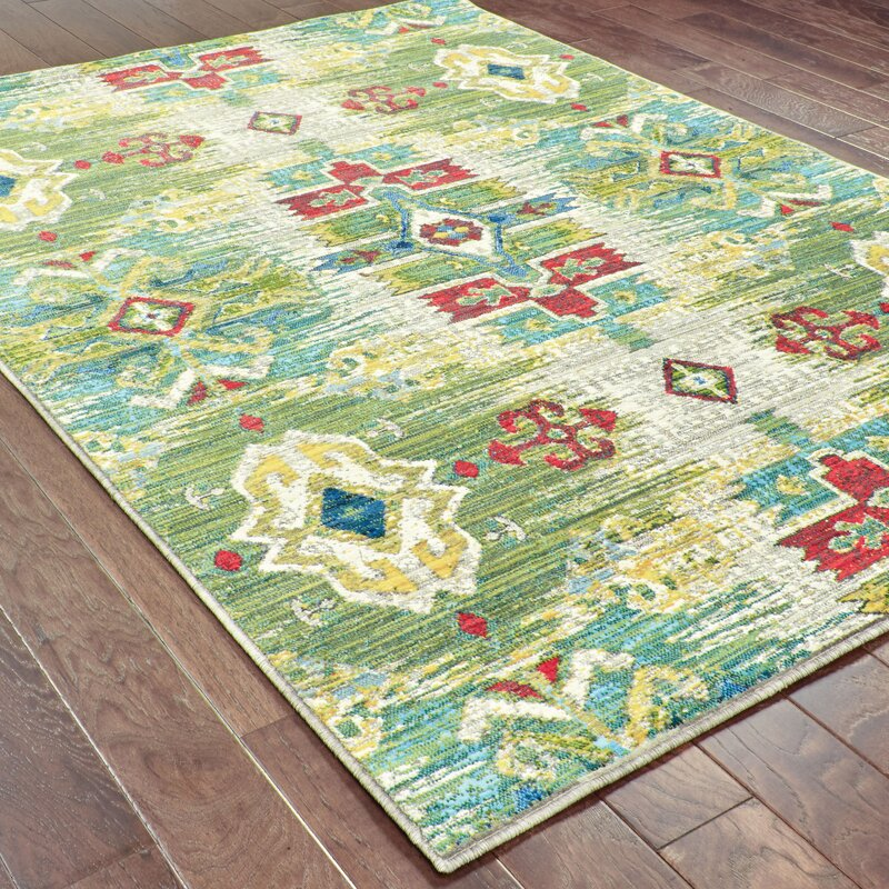 World Menagerie Burdett Ikat Yellow Green Area Rug Wayfair