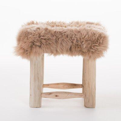 Terrific Bungalow Rose Patmos Sheep Hide Square Vanity Stool Color Taupe Evergreenethics Interior Chair Design Evergreenethicsorg