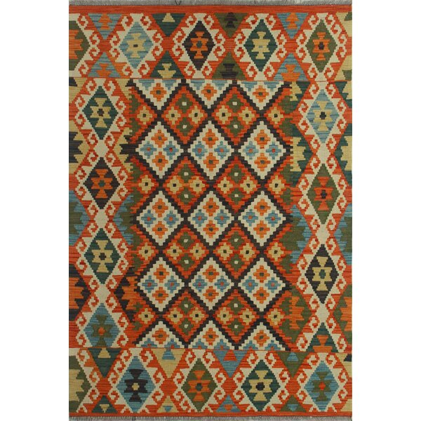 Foundry Select Hults Southwestern Handmade Kilim Wool Orange Area Rug Wayfair