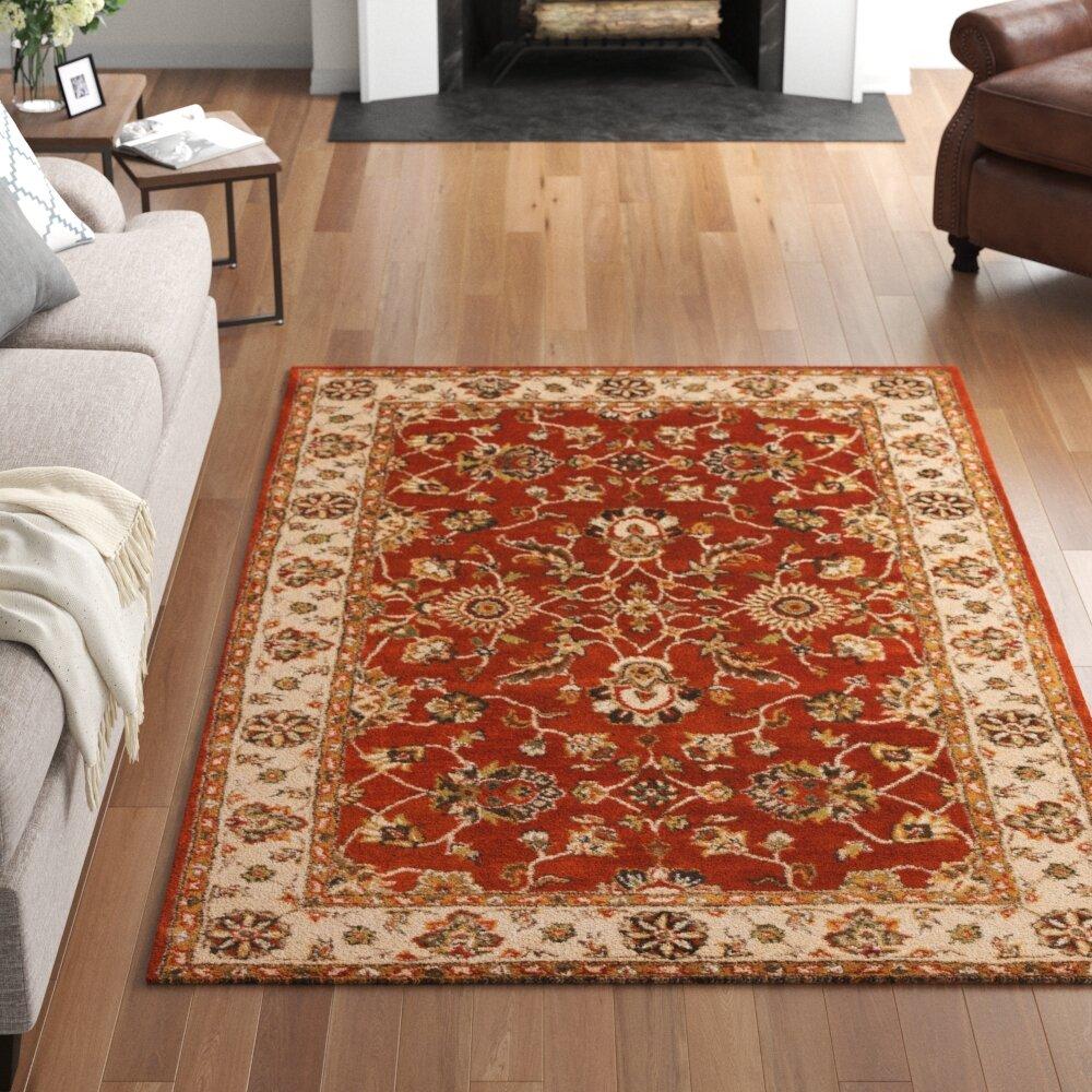 Three Posts Plemmons Oriental Handmade Tufted Wool Rust Area Rug Wayfair