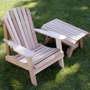 Cedar Furniture and Accessories Wood Adirondack Chair with Table