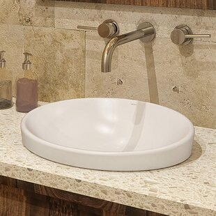 Buy clear Delphine Classically Redefined Vitreous China Oval Drop-In Bathroom Sink with Overflow By DECOLAV