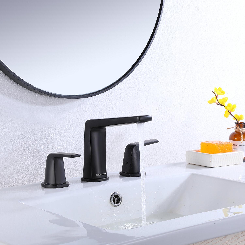 Modland 8 In Widespread 2 Handle Bathroom Faucet In Matte Black Modern Vanity Sink Faucet Reviews Wayfair