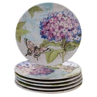 Marquis Hydrangea Melamine Salad Plate (Set Of 6) by Ophelia & Co. Amazing