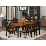 Parkhur 9 - Piece Butterfly Leaf Rubberwood Solid Wood Dining Set by August Grove®