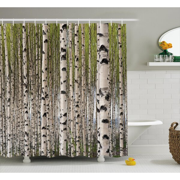 East Urban Home Tree Birch Trees With Leaves Shower Curtain Reviews