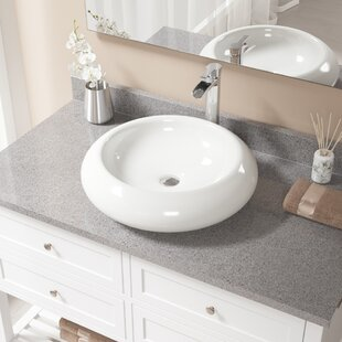 Price comparison Pillow Top Vitreous China Circular Vessel Bathroom Sink with Faucet ByMR Direct