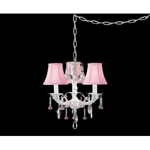 Clemence 3-Light Shaded Chandelier by Rosdorf Park