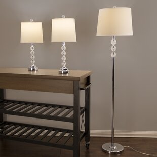 Lavish Home Faceted Crystal 3 Piece Table and Floor Lamp Set