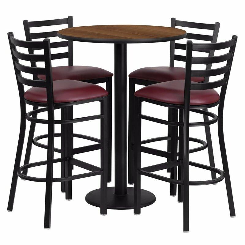 Red Barrel Studio Alvarez Round Laminate 5 Piece Pub Table Set Wayfair