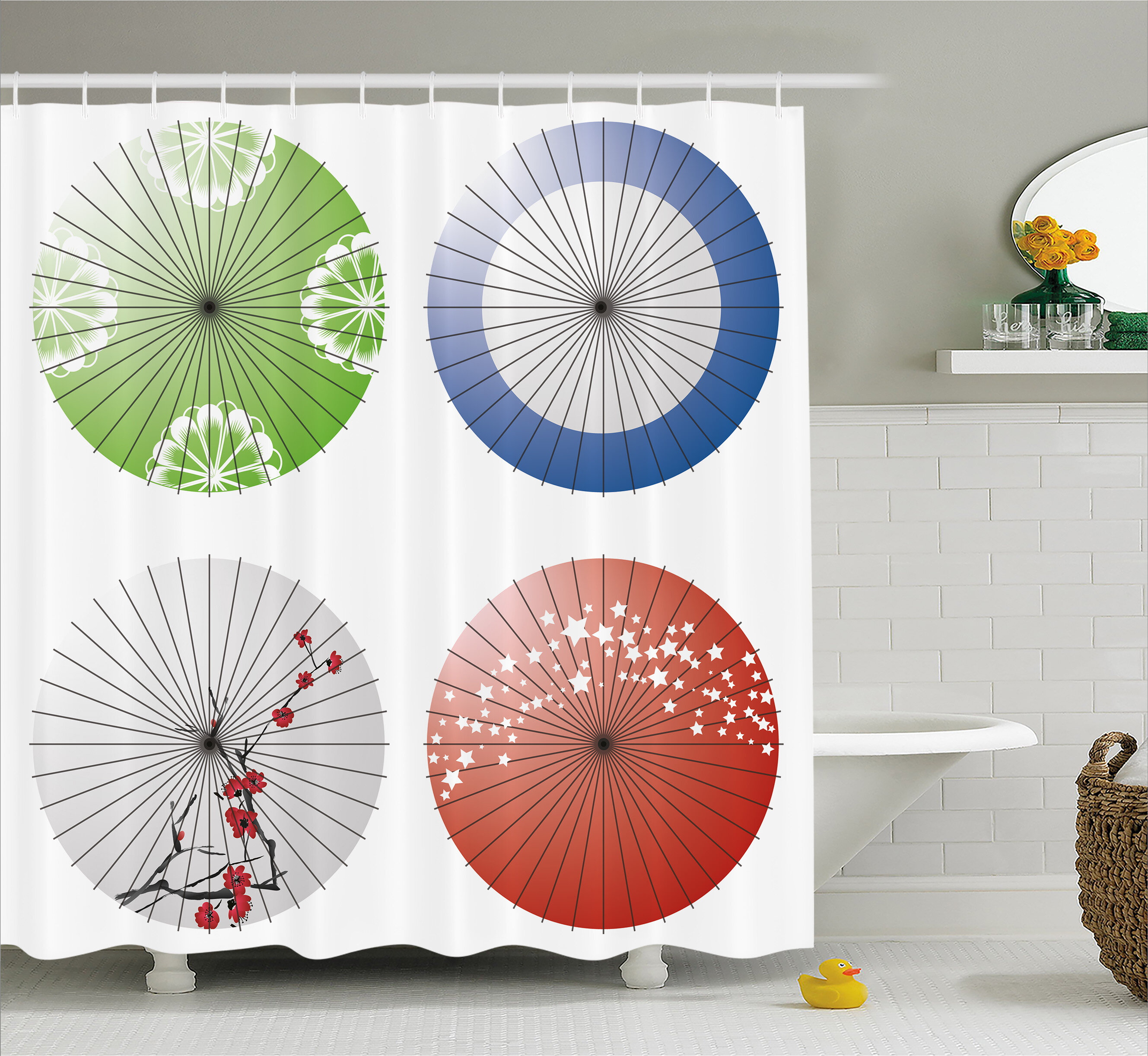 East Urban Home Japanese Umbrella Decor Shower Curtain