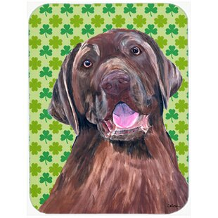 Shamrock Lucky Irish Labrador St. Patrick's Day Glass Cutting Board