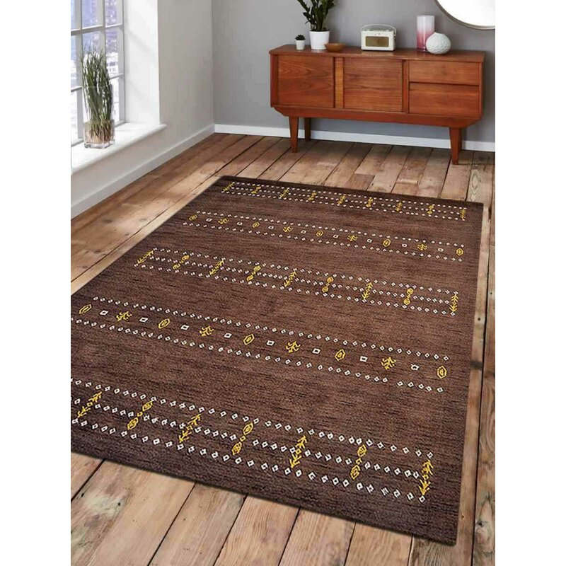 Millwood Pines Grossi Southwestern Hand Knotted Wool Brown Area Rug Wayfair